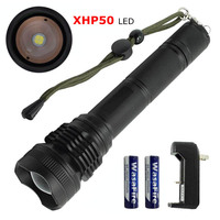 High Power 2500 Lumens Zoomable LED Torch XHP50 5 Mode Flash Light Waterproof Tactical Lantern for Hunting Camping