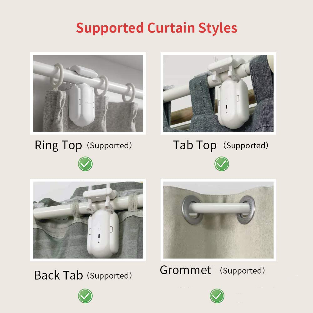 HIMOJO Tuya Smart Curtains  Wireless Automatic Curtain Opener Rechargeable Switch bot Curtains Remote Control Alexa Google Home 6