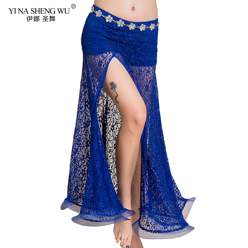 Royal Blue Belly Dance Skirts Oriental Double High Slit New Belly Dance Costume Skirt For Women Skirt Belly Dance(Without Belt)
