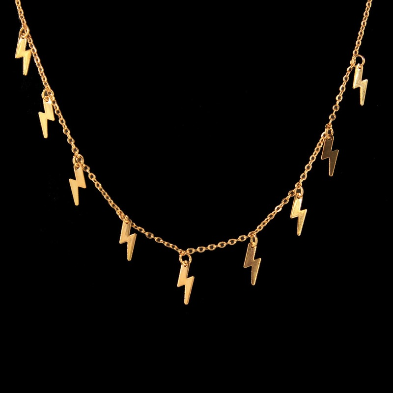 Creative New Lightning Shape Clavicle Necklace Pendant Gold Silver Exquisite Chain Choker Necklaces For Women Fashion Jewelry