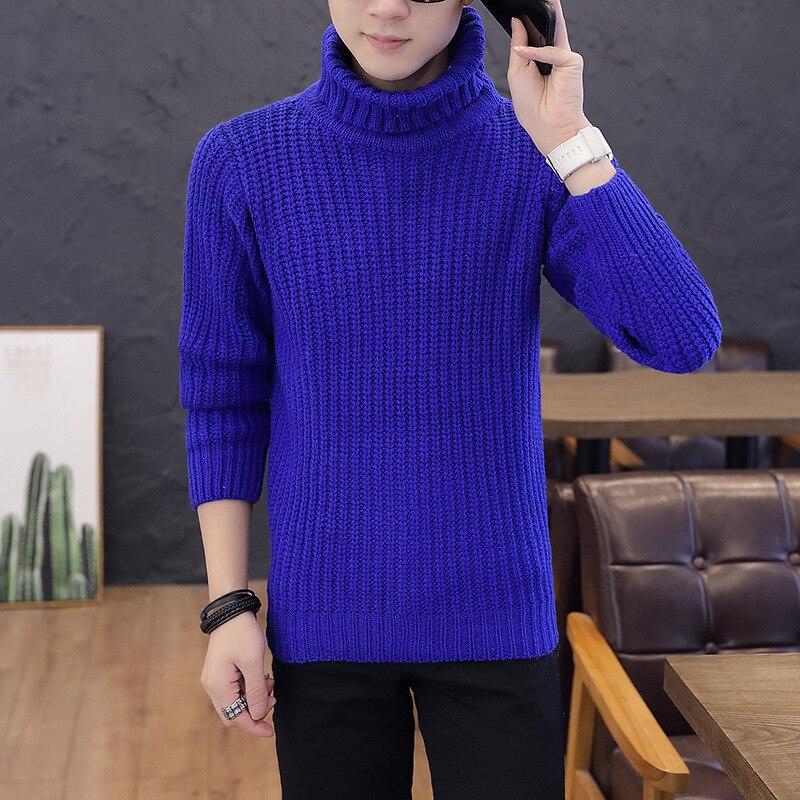 Blue Men Sweater White Black New Long Sleeve Sleek Winter Casual Turtleneck Pullovers Warm Sweater
