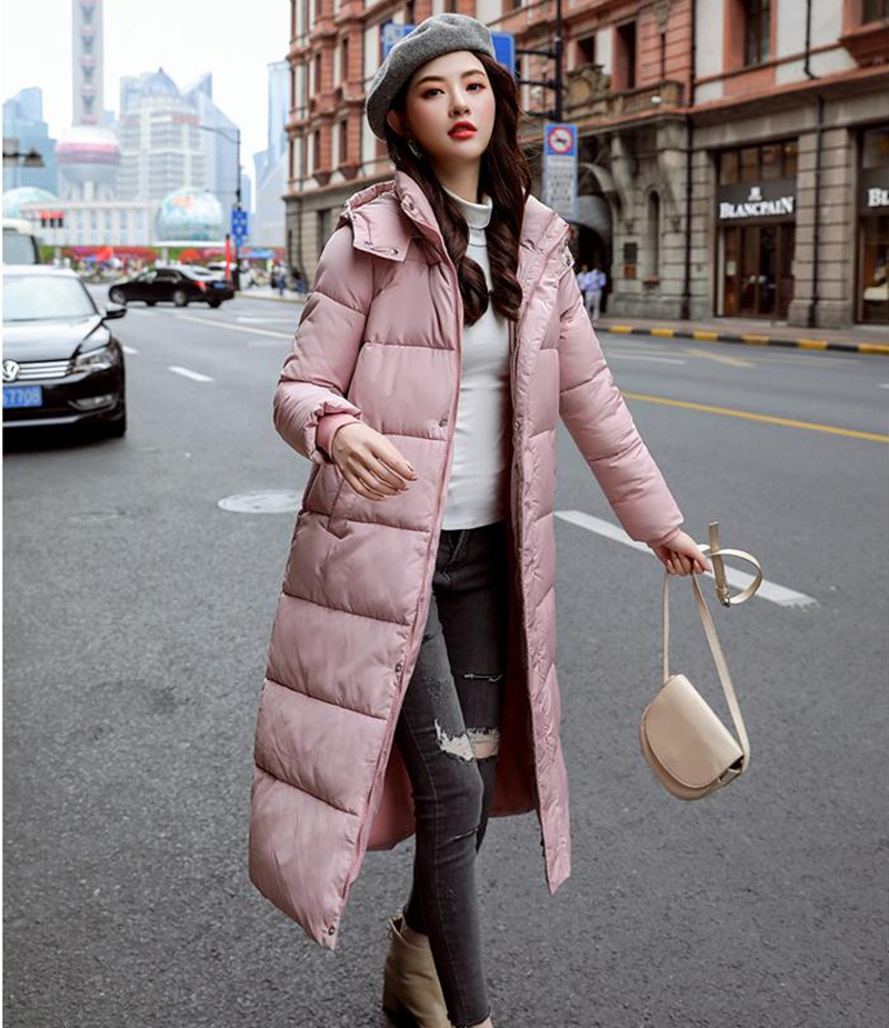 Fashion Pockets Loose Woman Long Parkas Winter Padded Jacket Long Sleeve Thick Hooded Women Tops Plus Size XXXL female Coats in Parkas from Women 39 s Clothing