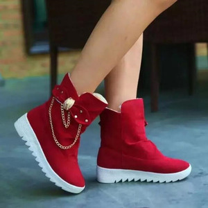 Image 1 - 2020 Winter New Snow Boots Womens Boots  Womens Tube Casual Bow Snow Boots Warm Cold Burning Feet Womens Boots Cotton Shoes
