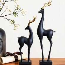 Deer Figurine Home Decoration Accessories European Living Room Decorative Figurine Cabinet Creative Resin Desktop Ornaments