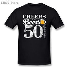 2021 Fashion Graphic T-shirt Cartoon Anime Cheers And Beers To My 50 Years Short Sleeve Casual Men 100% Cotton T Shirt Tees Top