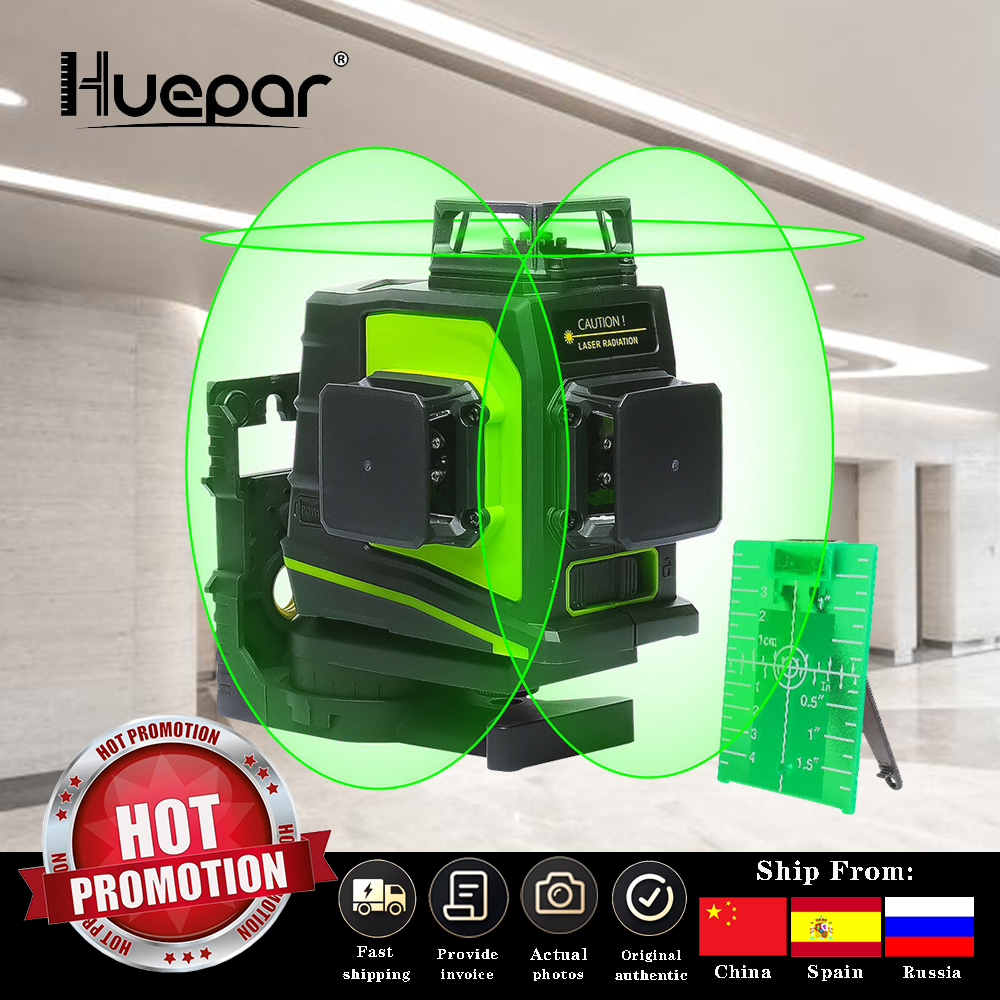 Huepar 12 Lines 3D Cross Line Laser Level Self-Leveling 360 Degree Vertical  amp  Horizontal Cross Green Red Beam Line USB Charging