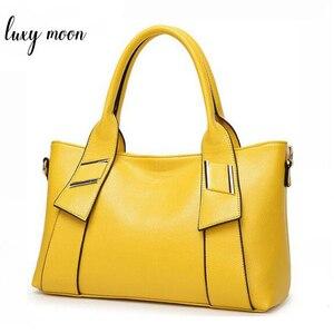 Image 1 - Bolsa feminina amarela de couro sintético, bolsa feminina de marca famosa, preta, azul, feita em couro sintético w805