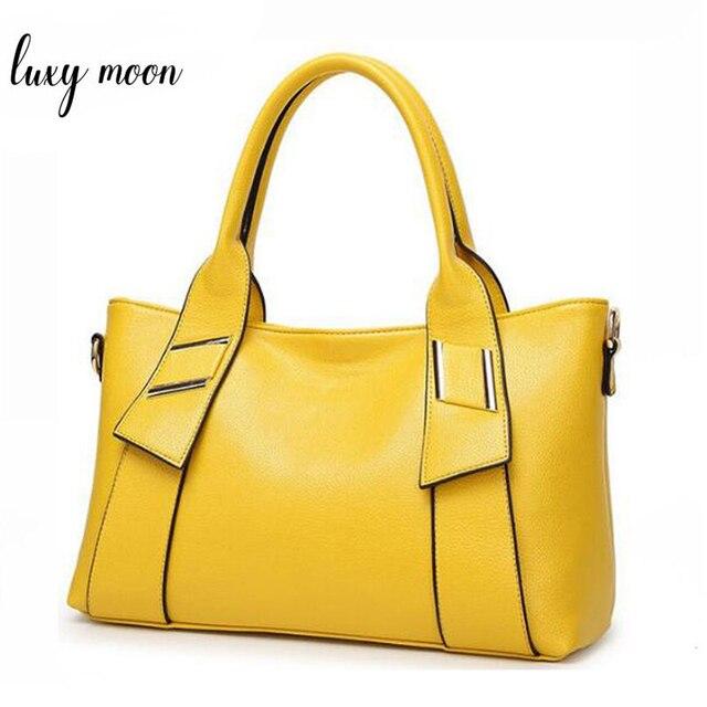 Bolsa feminina amarela de couro sintético, bolsa feminina de marca famosa, preta, azul, feita em couro sintético w805