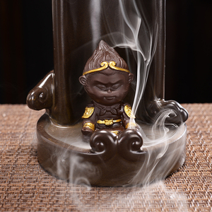 Image 5 - Monkey King Smoke Waterfall Censer Smoke Waterfall Ceramic Backflow Incense Burner Holder Creative Home Decor Gift Ornaments