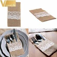 50 Uds. De arpillera con encaje bolsa para cubiertos vajilla de decoración de boda, artículos de mesa de yute rústico, adornos navideños para el hogar