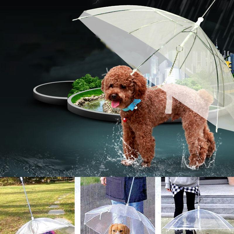 Transparent PE Pet Umbrella Keeps Pet Dry Comfortable In Rain Snowing Sleet Convenient Umbrella Rain Gear With Dog Leads