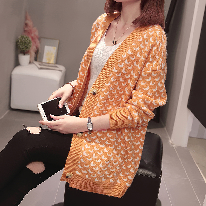 Plus Size Korean Style Women Cardigan Knitted Sweater Autumn Witer Clothes Casual Loose Moon Pattern Oversize Knitwear Outwear