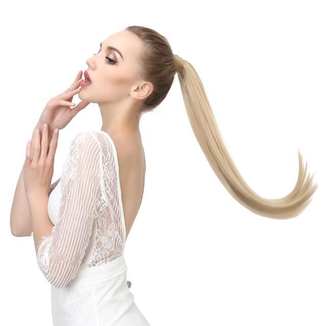 Peluca de cola de caballo falsa, extensión de cabello con Clip en cabello liso rizado sintético largo envuelta alrededor de cola de caballo negro postizo Rubio