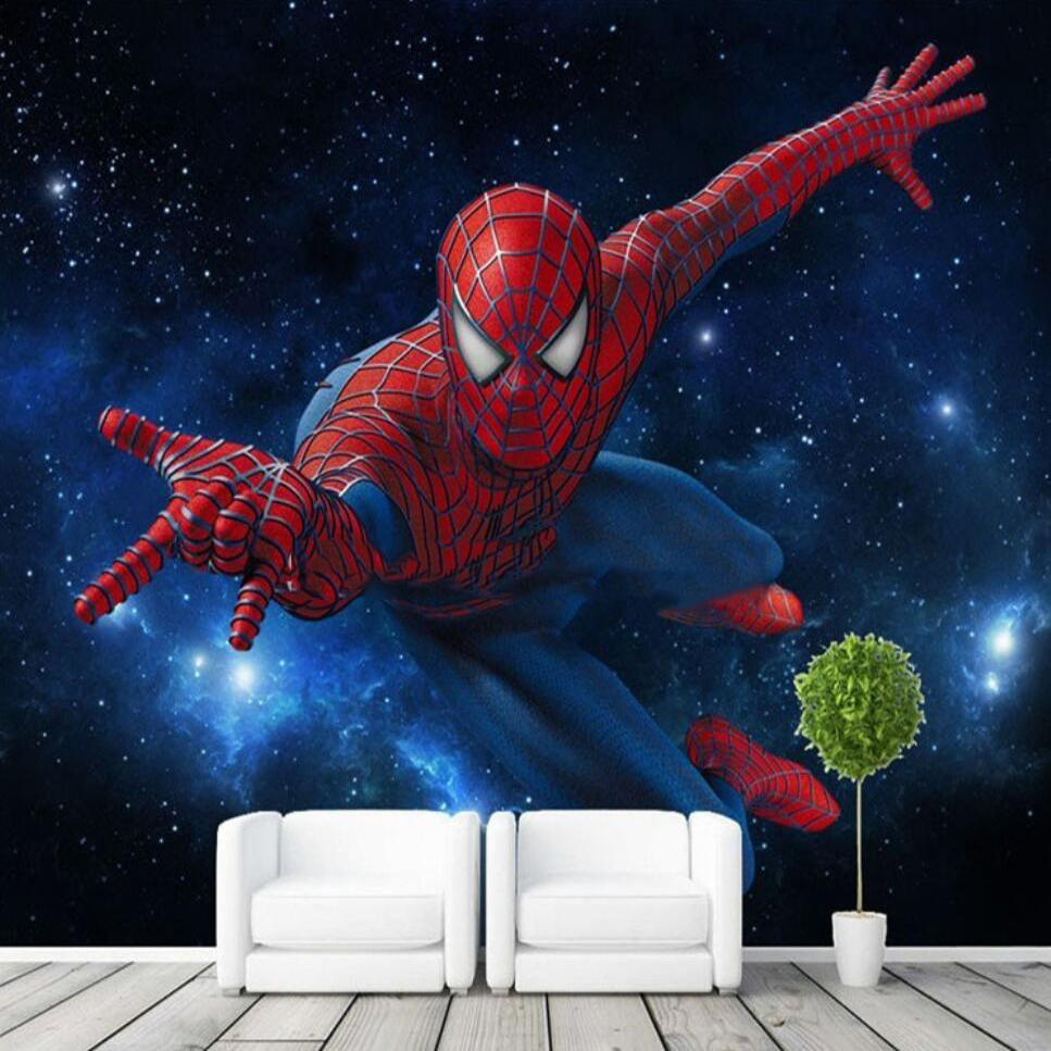 Custom 3D Stereo TV Background Bedroom Wall Paper Bar Mural KTV Theme Box Spiderman Wallpaper Children Room Background Wall
