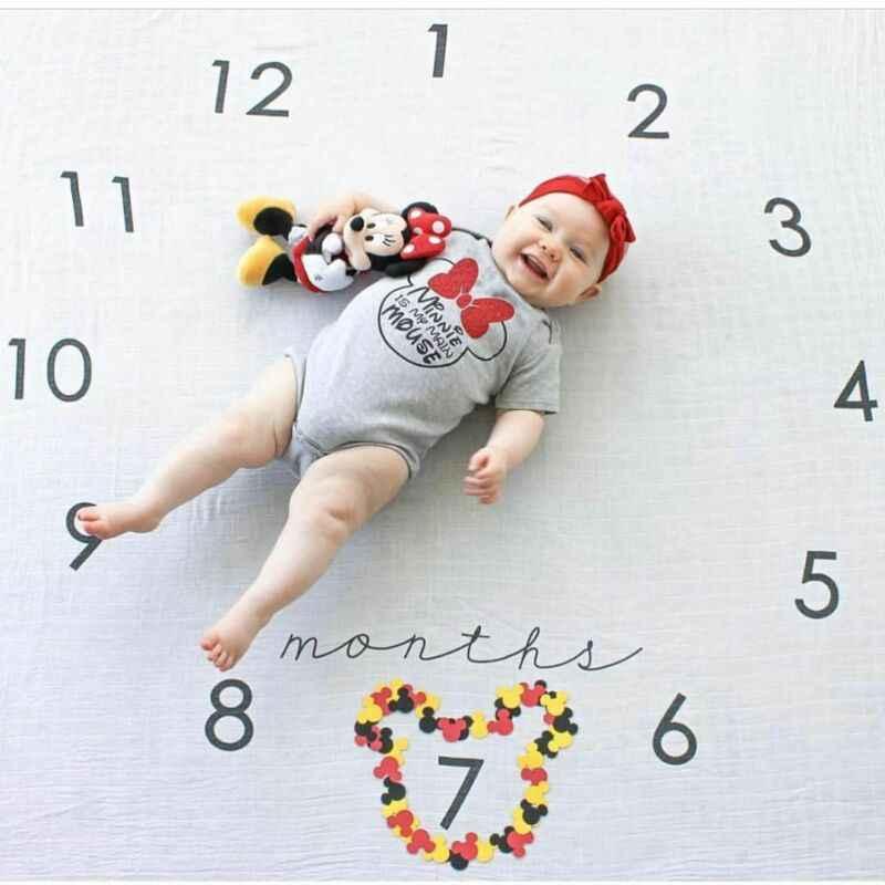 SANON Manta de Hito Mensual del Beb/é Tel/ón de Fondo de Fotograf/ía con Estampado Floral Supersuave Mantas de Regalo de Baby Shower Mensuales para Reci/én Nacidos Esteras de Hito de Ni/ño Y