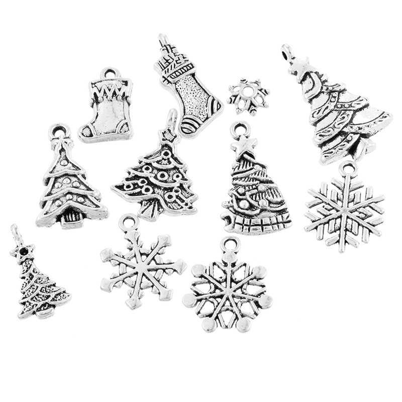 44pcs โบราณเงิน Christmas Motif โลหะจี้คริสต์มาสสร้อยข้อมือสร้อยคอเครื่องประดับ Xmas Tree Decor