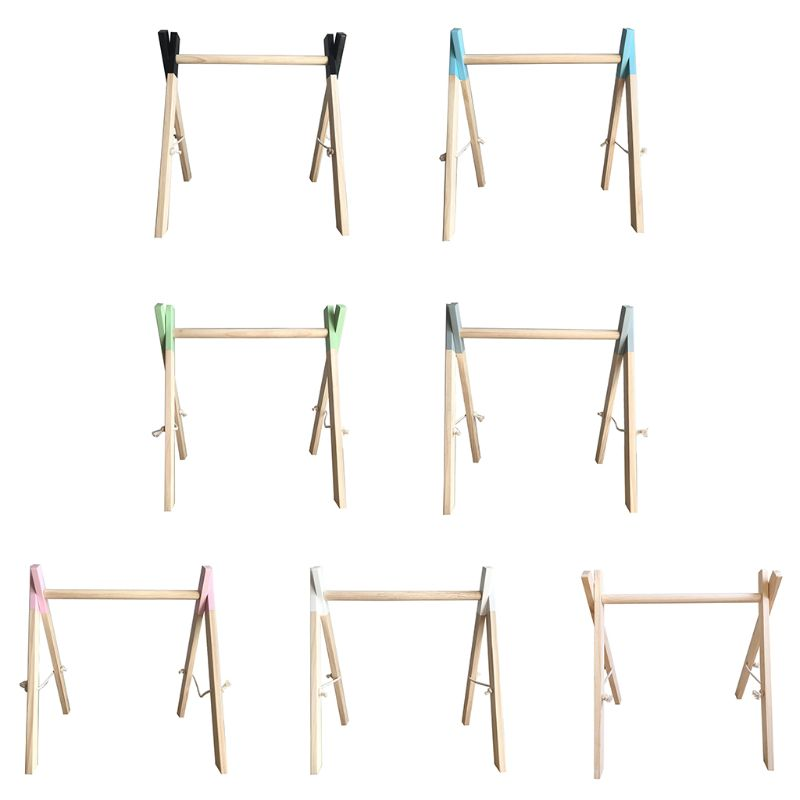 Nordic Simple Wooden Newborn Baby Fitness Rack Kids Sensory Ring-pull Toy Children Room Decorations Baby Gym Wood