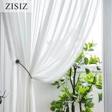 Zisiz белая шифоновая Тюлевая занавеска для гостиной тюли и