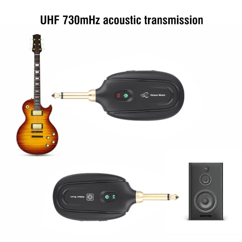 Wireless Guitar System-Guitar Transmitter Receiver UHF Built-in Rechargeable Electric Guitar System Transmitter Receiver Set
