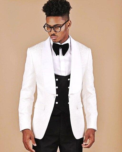 Newest Groomsmen White Pattern And Black Groom Tuxedos Shawl Lapel Men Suits Wedding Best Man ( Jacket+Pants+Bow Tie+Vest ) C660