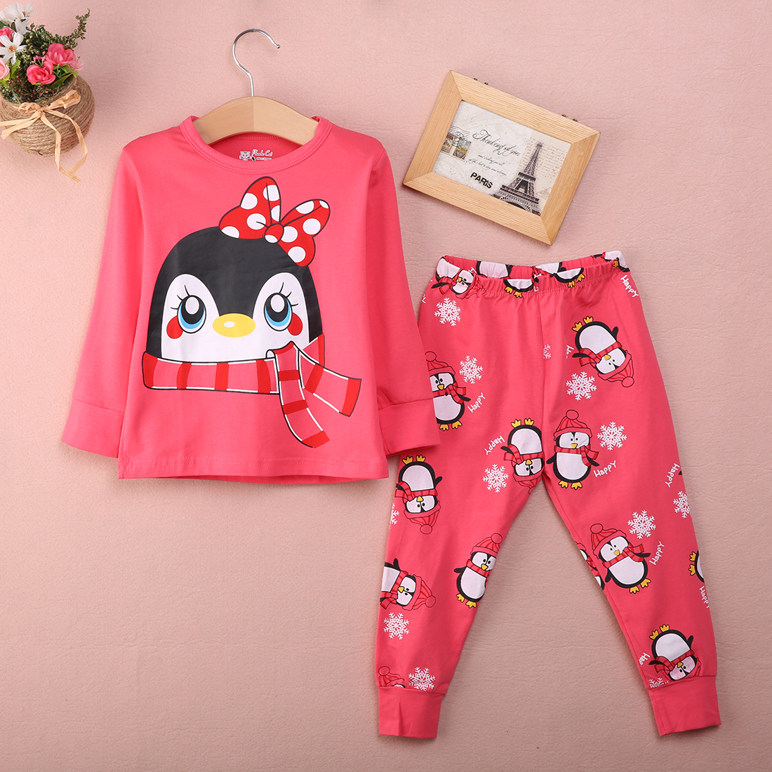 Autumn Winter Warm Kids Baby Girls   Pajama     Set   Two Pieces Sleepwear Nightwear   Pajamas     Sets   Tops and Long Pants Outfits