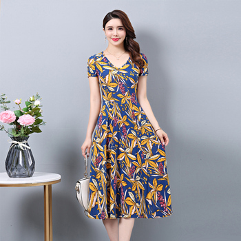 2020 Summer dresses V-neck casual print femme robe  Print  Short Sleeve Casual Dress Plus Size 5XL Women Dress casual long sleeve geometric print plus size dress for women