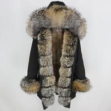 OFTBUY 방수 롱 파커 겨울 자켓 여성 리얼 모피 코트 천연 여우 모피 칼라 후드 두꺼운 따뜻한 Streetwear 분리형 새로운