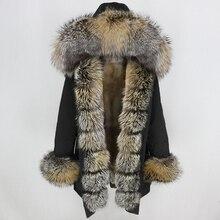Oftbuy à prova dlong água longo parka jaqueta de inverno feminino casaco de pele real gola de pele de raposa natural capuz grosso quente streetwear destacável novo