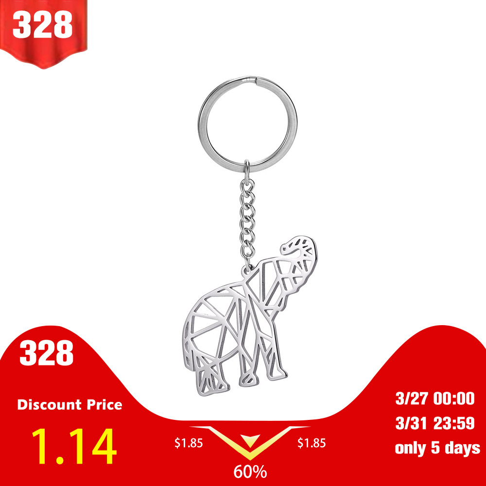 My Shape King Ring Elephant 316L Stainless Steel Animal Key Chain Cut Out Hollow Pendant Jewelry Keyholder Gift For Men Women