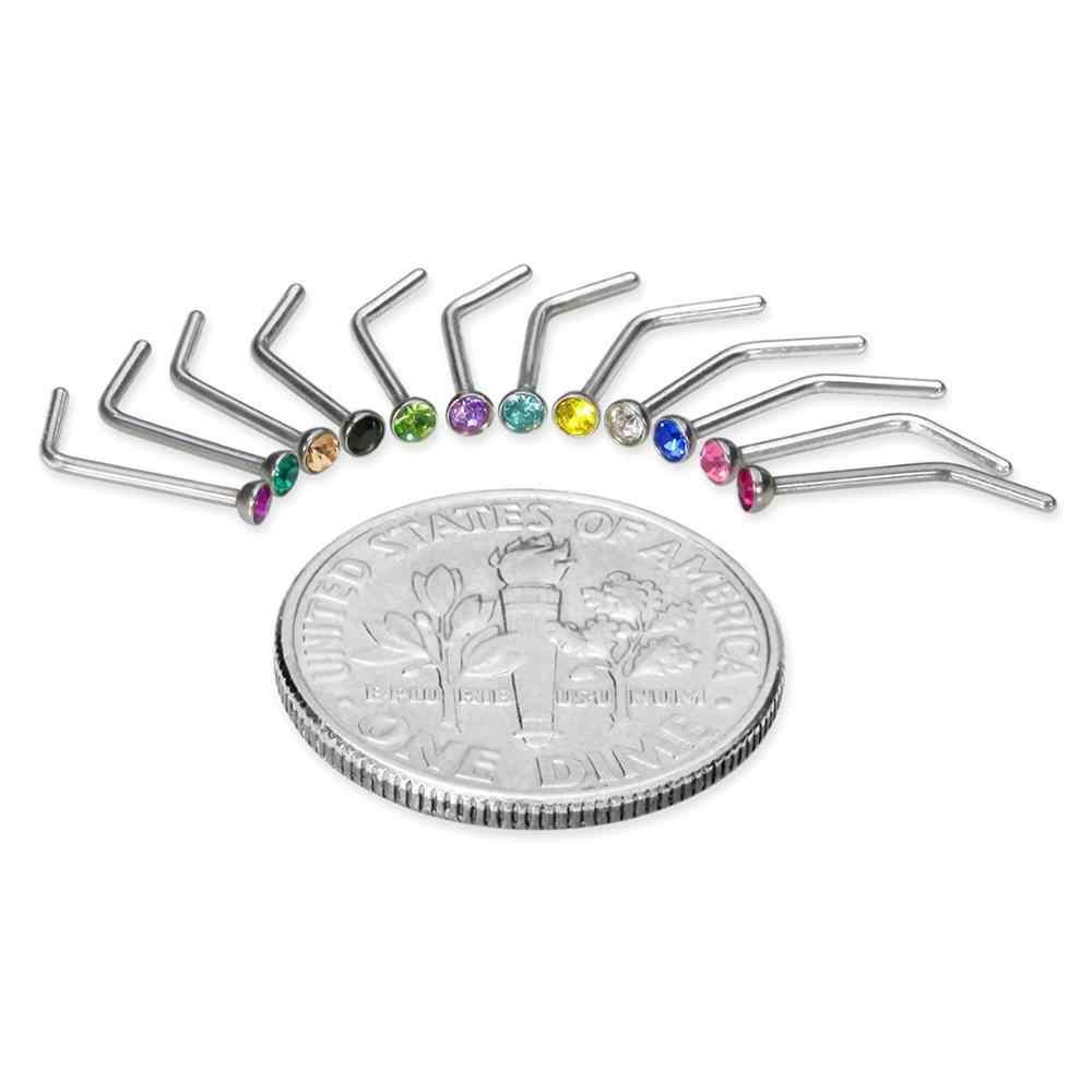 Modrsa 2Pcs สแตนเลส L รูปร่างจมูก Dermal Piercing เครื่องประดับอินเดียแหวนจมูกอุตสาหกรรมเจาะสตรีเครื่องประดับ