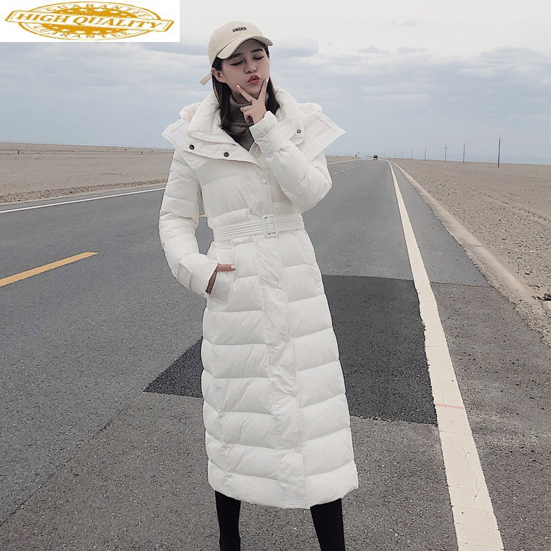 2020 White Duck Down Jacket Women Hooded Long Winter Jacket For Women Warm Korean Puffer Jackets Coats MER1226 KJ3476
