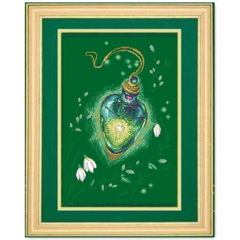 إكسير الربيع عبر الابره عدة زهرة تصميم القطن الحرير الموضوع 14ct الأخضر العميق قماش التطريز لتقوم بها بنفسك الإبرة