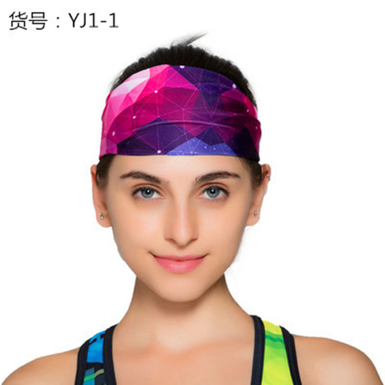 New print pattern sports turban yoga stretch hair band running sports wide hair band antiperspirant band