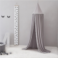 Photography Props Fashion Kids Bed Hanging Universal Tent Solid Mosquito Net Canopy Cotton Blend Round Curtain Decoration