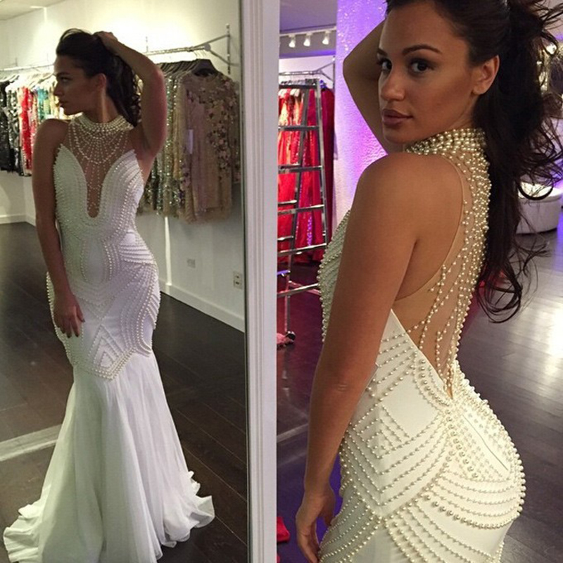 2020 Mermaid High Collar Pearls White Sexy Long Prom Gown Women Formal Dress Mother of the Bride Dresses L439