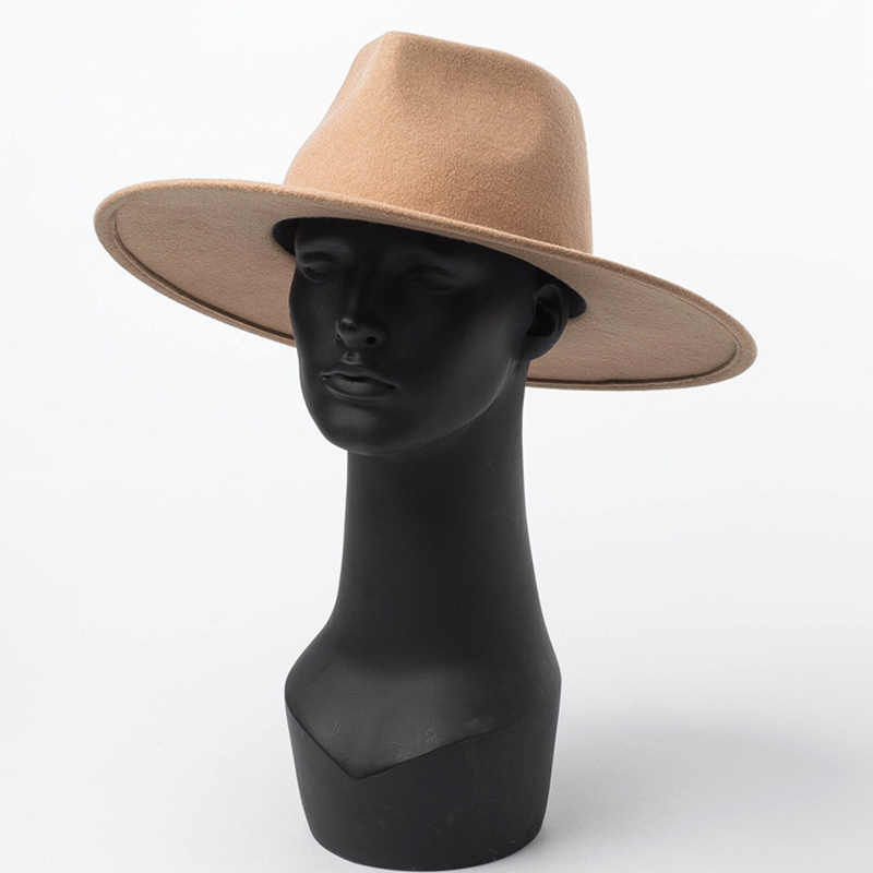 클래식 와이드 브림 Porkpie 페도라 모자 카멜 블랙 100% 울 모자 남성 여성 Crushable 겨울 모자 더비 웨딩 교회 재즈 모자