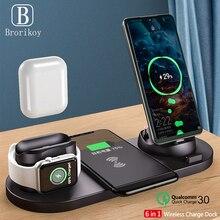6 IN1 10W Wireless Charger แท่นชาร์จสำหรับ iPhone 11 Pro XS สูงสุด 8 X Fast สำหรับ apple 5 4 3 2 Airpods Pro 2