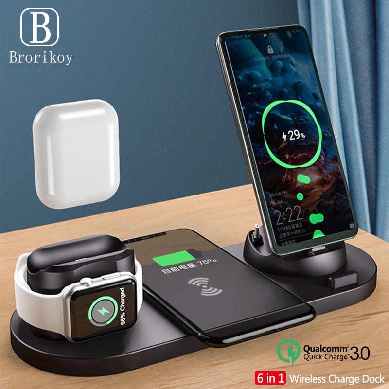 6 in1 10W chargeur sans fil support Dock pour iPhone 11 Pro Xs Max 8 X charge sans fil rapide pour Apple Watch 5 4 3 2 Airpods Pro 2|Chargeurs sans fil|   - AliExpress