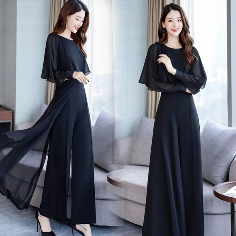 Chiffon Pantsuits Women Pant Suits For Mother Of The Bride Outfit 2020 Formal Wedding Guest Black Wide Leg Loose Two Piece Set