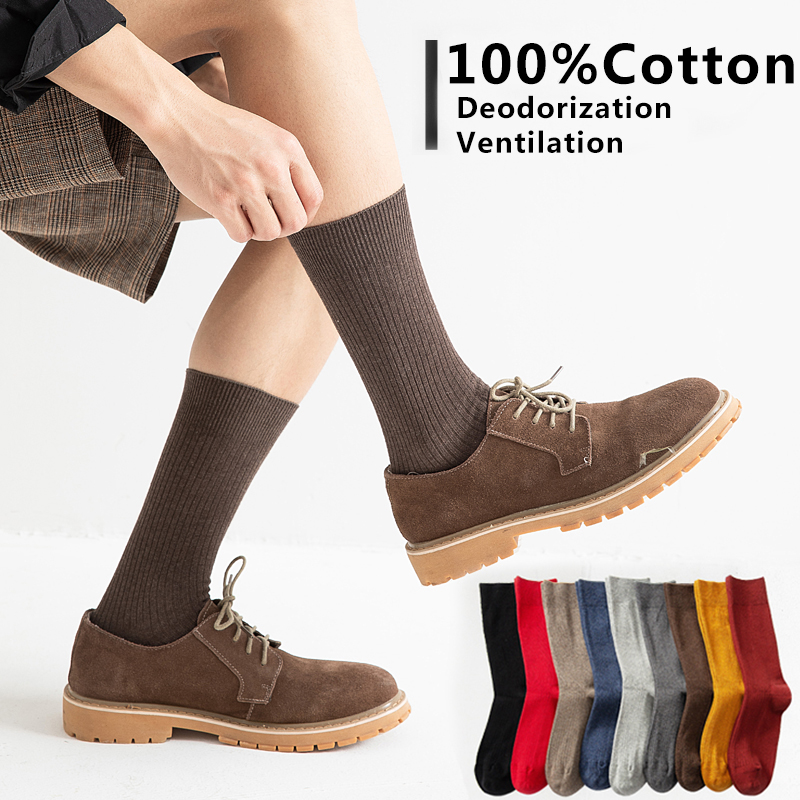 100% Cotton Business Casual Soft Men Dress Socks Crew Male Ankle Breathable Thin Long Men Socks Medium Color Summer 1pairs
