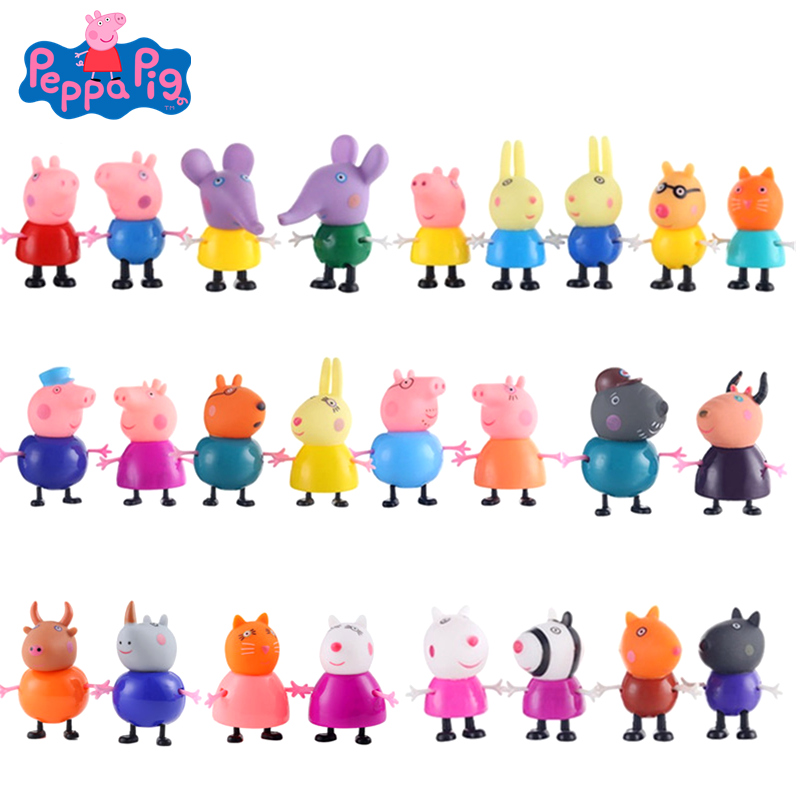 Original 25 Pcs Peppa Pig George Dolls Set Action Figure Anime Toys Cartoon Family Friend Pig Party Toy Kids Birthday Xmas Gift