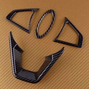 DWCX 4pcs Car Carbon Fiber Texture Steering Wheel Cover fit for Ford Fusion Mondeo Edge 2013 2014 2015 2016 2017 2018 2019