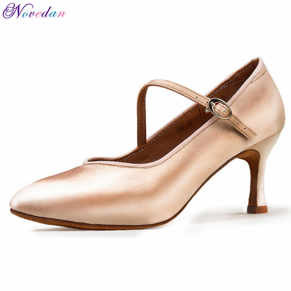 Women Standard Dance Shoes Tan Satin High Low Heel Ladies Ballroom Dance Shoes Soft Outsole Modern Dance Shoes