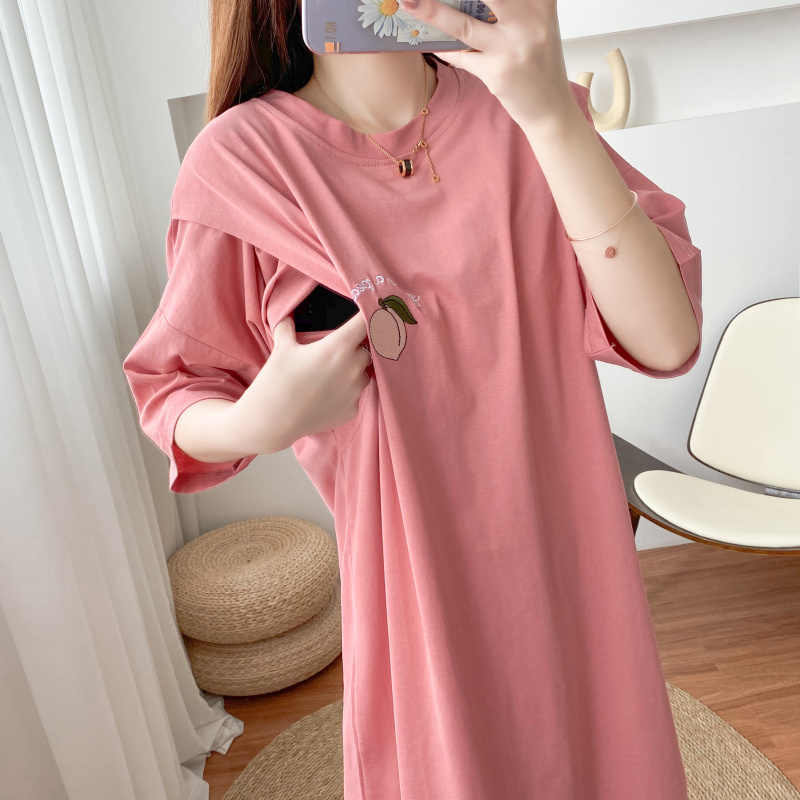 Peach Embroidery Cotton Casual Dress Nursing Clothes Top Large Size Shirt Postpartum Mom Wear Maternity Clothes Pregnancy 8522 Dresses Aliexpress