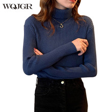 WQJGR Autumn Winter Women Sweaters and Pullovers Turtleneck Korean Slim-fit Tight Sweater