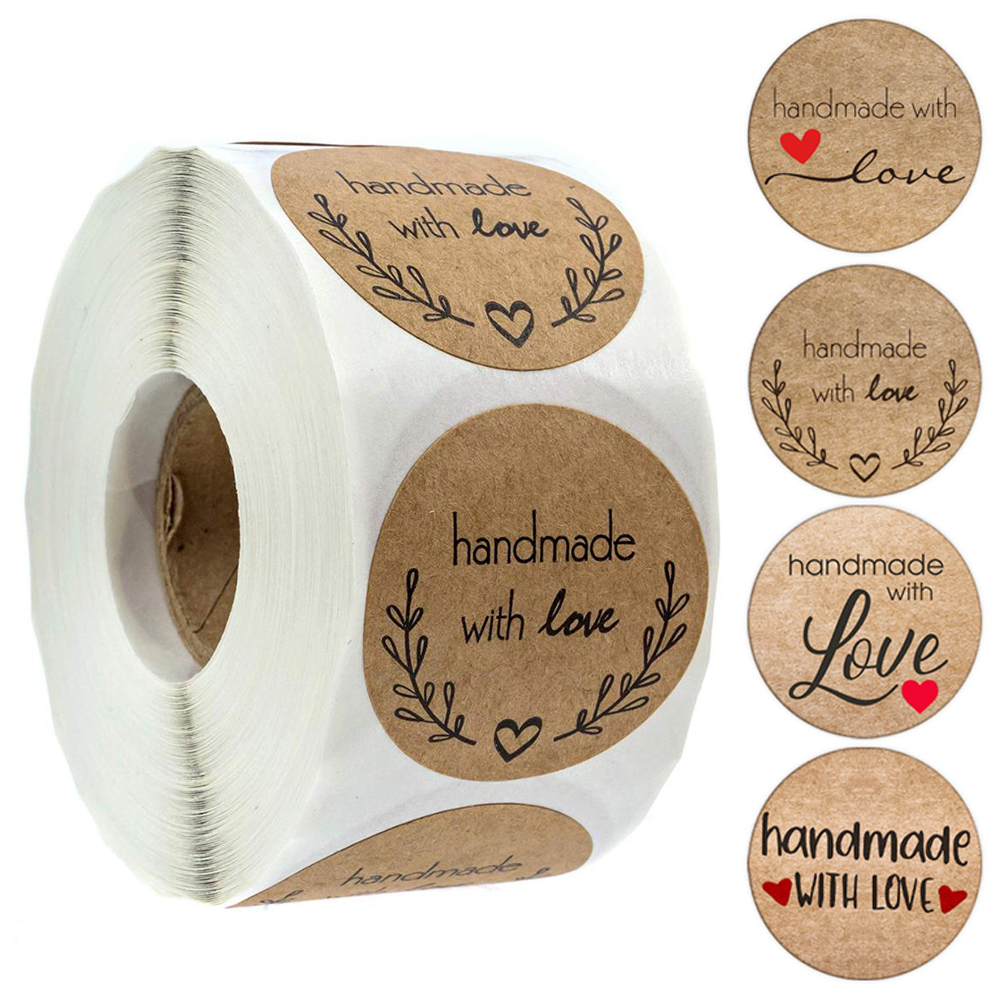 100-500pcs Vintage Kraft Paper Stickers Scrapbook Gift Stationery Label Stickers Handmade With Love Thank You For The Stickers