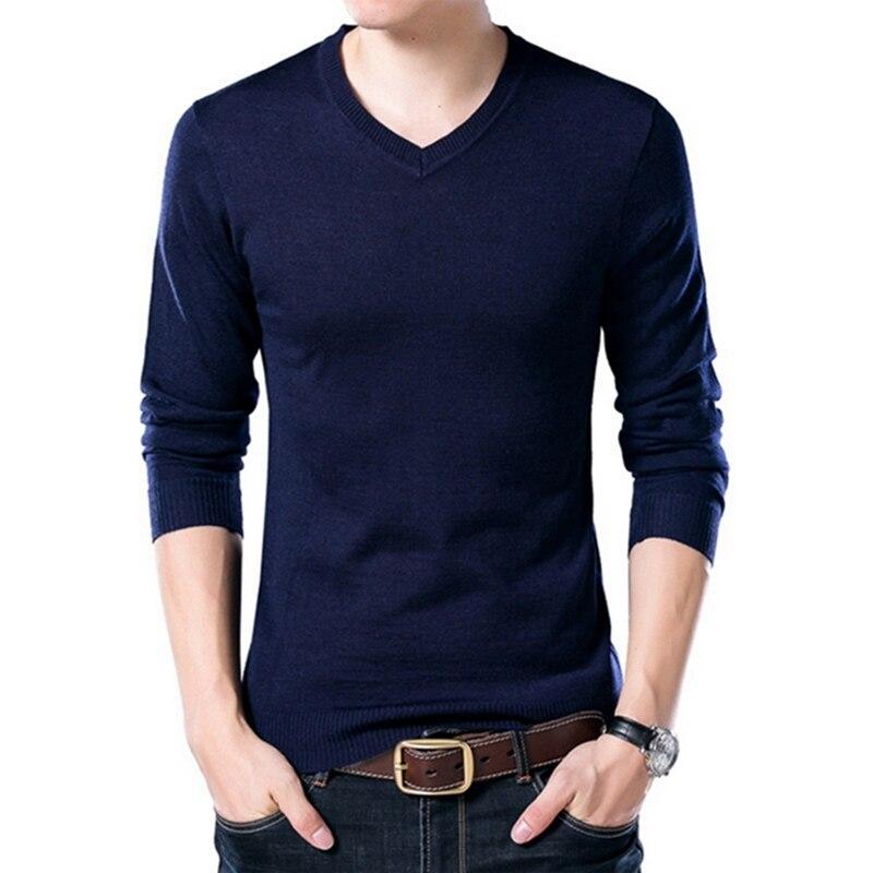 PUI men TIUA осенний Повседневный однотонный базовый Мужской свитер с v-образным вырезом тонкий мужской пуловер вязаный свитер с длинным рукавом мужской свитер размера плюс - Цвет: Navy Blue