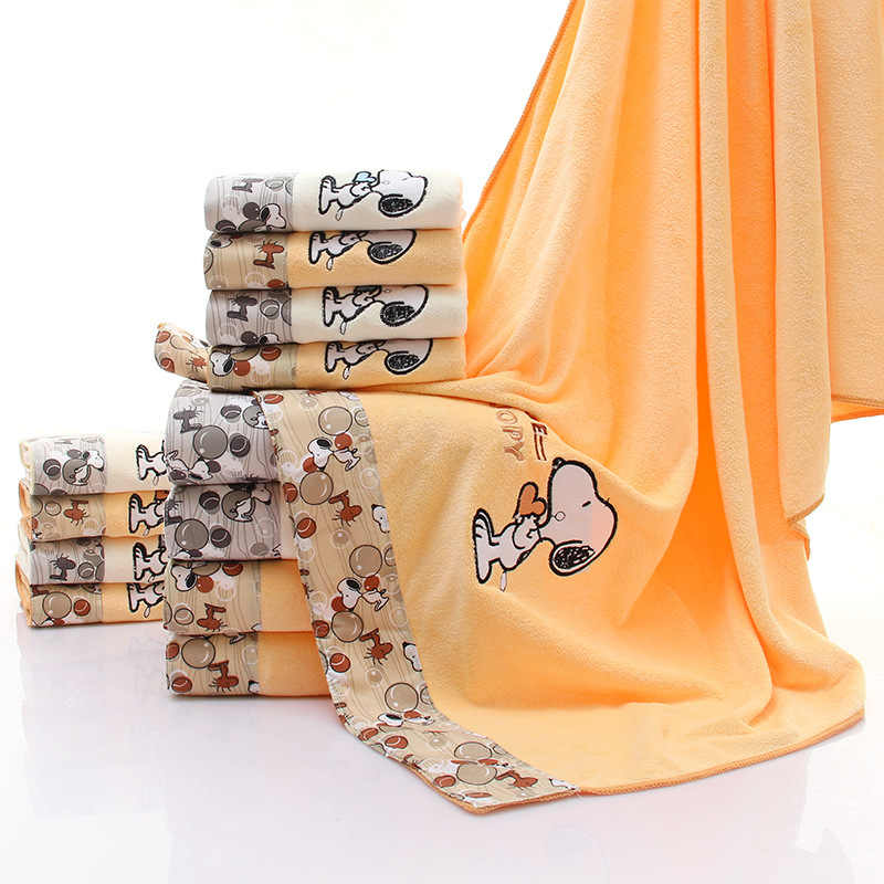 Toalla de baño de microfibra Toalla de baño 70*140 toallitas de baño Snoopy cubiertas respetuosas con el medio ambiente lavado no cobertizo no se desvanece