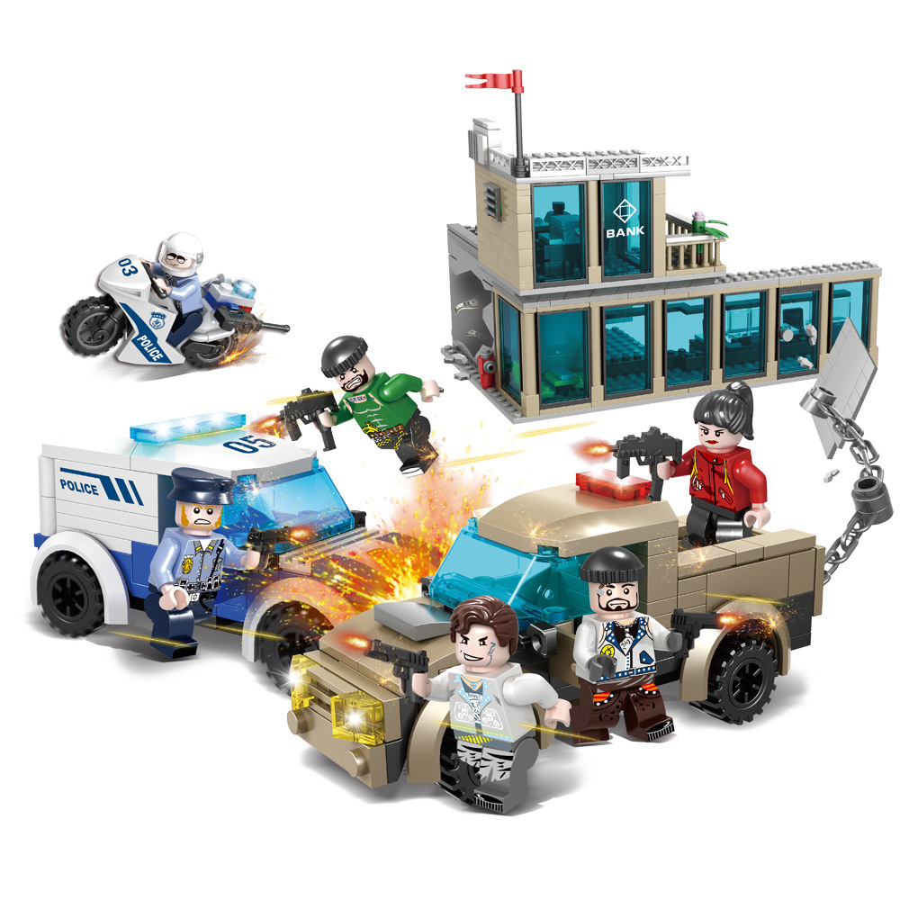City police and bandits series children's small particle building blocks assembled toys image