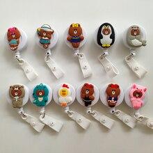 New Kumamoto Bear Cartoon Retractable Pull Badge Reel ID Lanyard Name Tag Card Nurse Holder lovely Kids Reels
